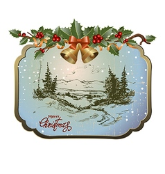 Postcard with Christmas landscape vector