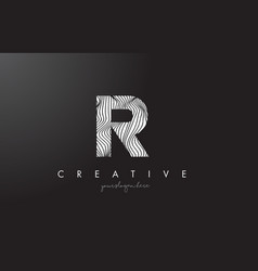 r letter logo with zebra lines texture design vector image