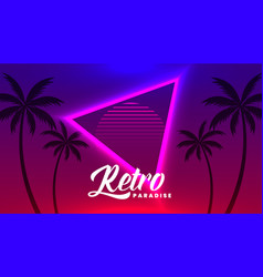 retro neon tropical background with palm tree vector image