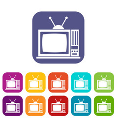 retro tv icons set vector image