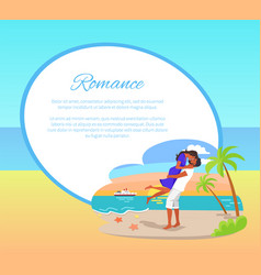 Romance web poster with couple embracing seashore vector