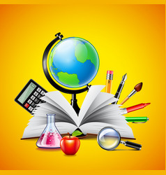 school concept with opened book and tools vector image