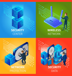 security data center wireless network banners set vector image