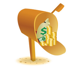 sending with gold in mailbox vector image