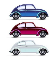 set multicolored old cars vector image