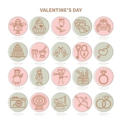 Set of flat icons Valentine s Day vector