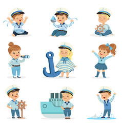 Small children in sailors costumes dreaming of vector