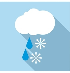 Snow with rain icon flat style vector