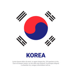 south korea flag white background with copy space vector image
