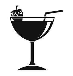 Strawberry cocktail icon simple style vector