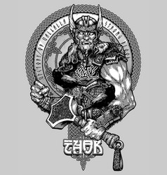 thor a hand-drawn drawing design for t-shirt vector image