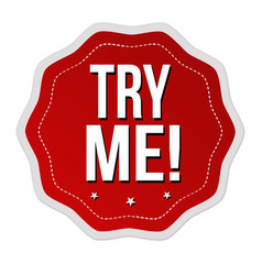 Try me sticker or label vector