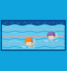 two girls swimming in the pool vector image