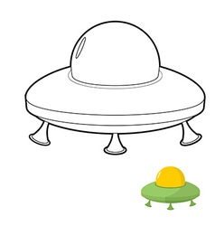 UFO coloring book of an alien space transpo vector