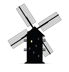 Windmill silhouette with window light one vector