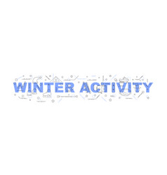 winter activity word with line icon vector image