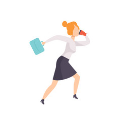 Young woman talking by phone while running to work vector