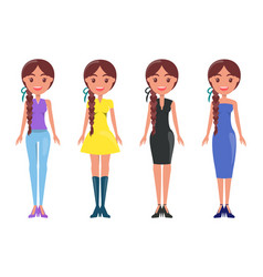 Young women in stylish outfits of summer mode set vector