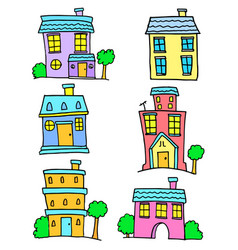 colorful house set art vector image vector image