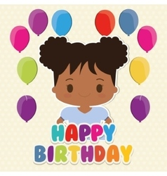 Girl cartoon and happy birthday design vector image vector image