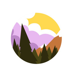 natural landscape in flat style green pine vector image vector image