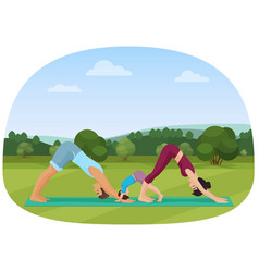 parents with kid does yoga various exercises vector image vector image