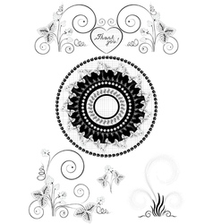 Decorations with flowers and strawberries vector image