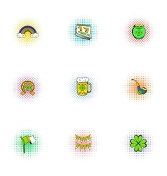 Holiday Saint Patrick day icons set pop-art style vector image vector image