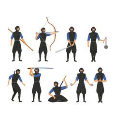 ninja fighter black cloth character warrior vector image
