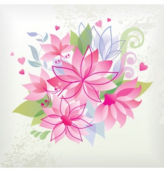 pink flower with heart vector image vector image