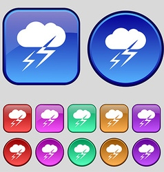 Weather icon sign A set of twelve vintage buttons vector image