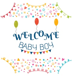 Welcome baby boy baby shower greeting card cute vector
