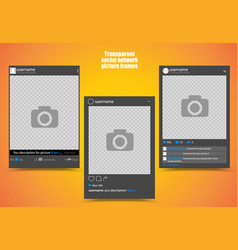 dark photo frame for social network picture with vector image vector image