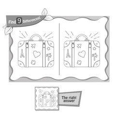 game black find 9 differences suitcase vector image