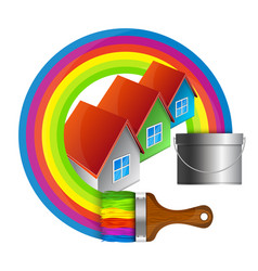 painting houses vector image vector image