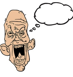 screaming old man with thought bubble vector image vector image