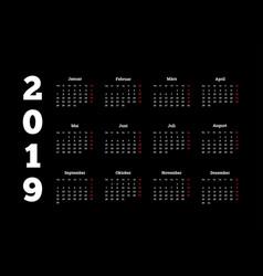 2019 year simple white calendar on german language vector image vector image