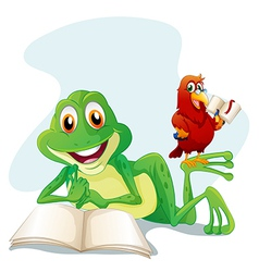 A frog and a bird reading vector image