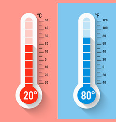 celsius and fahrenheit thermometers vector image vector image