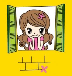 cute girl on window vector image vector image