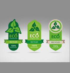 Environmentally friendly labels vector image vector image