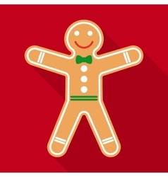 Gingerbread in Flat Style with Long Shadows vector image