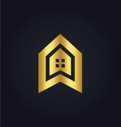 house icon building gold logo vector image vector image