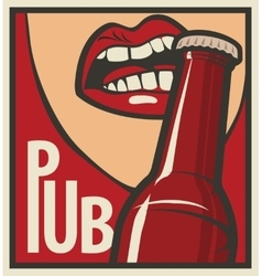 mouth opens a beer bottle vector image vector image
