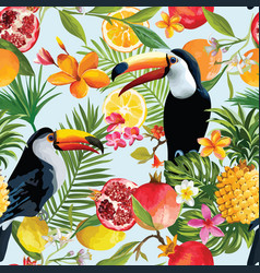 seamless tropical fruits and toucan pattern vector image vector image