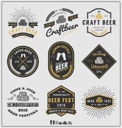 Set of vintage beer badge logo and labels template vector image vector image