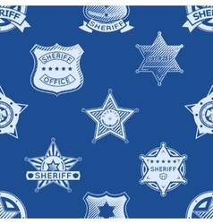 Sheriff badge seamless pattern vector image