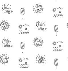 Summer beach line icon seamless pattern vector