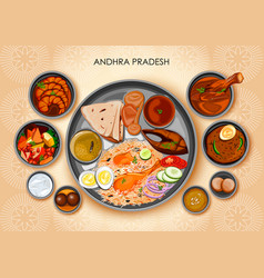 traditional andhrait cuisine and food meal thali vector image