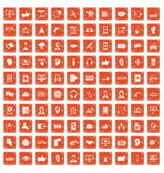 100 call center icons set grunge orange vector